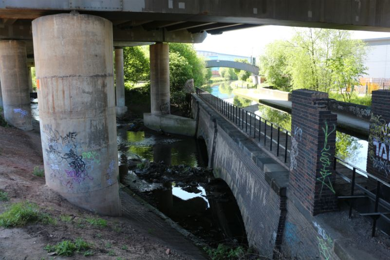 River Tame under Spaghetti Junction